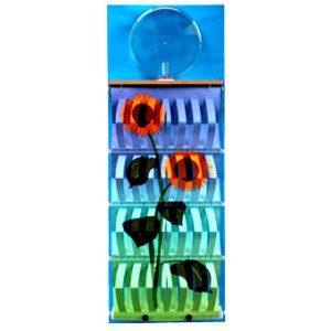 """3D Befeuchter - Komplettgerät Sonnenblume mit Dekorfolie """"blau"""""""