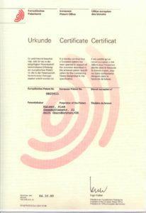 Patent-Urkunde-zur speziellen Methode zur Luftbefeuchtung, Unterdruck-Niveau ...